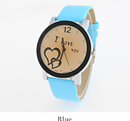 Women's Fashion Style 'I LOVE YOU' Candy Charm Leather Band Quartz Analog Wristwatch