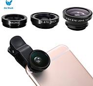 vecchio squalo clip-on universale 3 in 1 pesce occhio lente + kit angolo + micro obiettivo grandangolare per iPhone6 / 6 più / 5 / 5s /