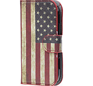 Vintage American Flag PU Leather Case Cover with Stand and Card Slot for Samsung Galaxy Xcover 2 S7710