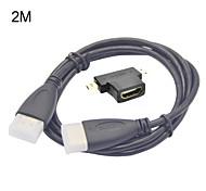 Hembra hdmi 3-en-1 para el mini hdmi macho y adaptador macho hdmi micro + hdmi cable hd 2m