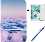 el patrón de las nubes del cielo de la PU cuero caso de cuerpo completo con el cine y la pluma de capacitancia para samsung galaxy tab 3
