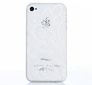 weiße Blume Muster TPU Soft Cover für iPhone 4 / 4S