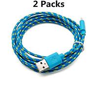 2 pacotes de carregamento 9,8 pés 3m micro USB e cabo de sincronização de dados tecido Cabo de tecido para samsung dispositivos HTC