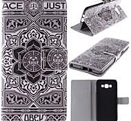 caso estande de couro grande projeto da flor preto pu com slot para cartão para Samsung Galaxy a7