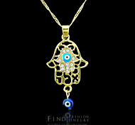 18K Golden Plated Hamsa Hand Of Fatima Evil Eye Crystal  Hollow Out Zircon Pendant