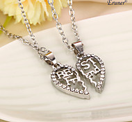 Euner® Hot Sale Broken Heart Alloy Rhinestone Necklace High Quality Joint 2 Part Heart Necklace For Best Friend Gifts