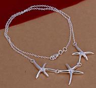 plateó tres estrellas de mar forma de collar colgado (blanco) (1pc)