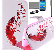 COCO FUN® Red Leather Pattern PU Leather Case with Screen Protector and Stylus for Samsung GALAXY CORE LTE G386F