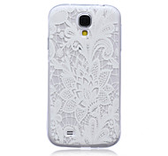White Flower Pattern Ultrathin TPU Soft Back Cover Case for Samsung Galaxy S4 I9500