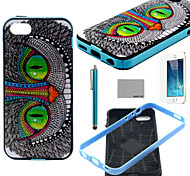 COCO FUN® Green Eyes Cat Pattern Soft TPU Back Case Cover with Screen Protector and Stylus for iPhone 5/5S