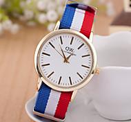 relógios dos homens unisex casuais moda relógio de quartzo pulseira multicolor têxtil