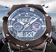 ASJ Hombre Reloj Deportivo Reloj de Moda Reloj de Pulsera Japonés CuarzoLCD Calendario Cronógrafo Resistente al Agua Dos Husos Horarios