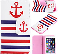 Anchor Pattern with Card Bag Full Body Case for iPhone 6 Plus