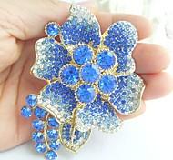 Women Accessories Gold-tone Blue Rhinestone Crystal Flower Brooch Art Deco Crystal Brooch Bouquet Women Jewelry