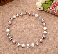 D Exceed European Charm Handmade Beaded Bohemian Rhinestone Ball Glass Pearl Chokers Necklaces for Women