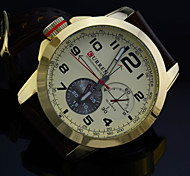 Fashion Gold Steel Case BRAND Relogio PU Leather Strap Male Clock Men Business Wristwatch Quartz Sport Watch Man