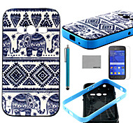 COCO FUN® Elephant Trible Pattern PU Leather Case with Screen Protector and Stylus for Samsung Galaxy Ace 4 G313H