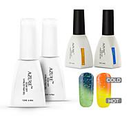 azur 4 pièces / lot gel ongles tremper hors changeant de couleur avec la température uv gel de vernis à ongles (# 25 + # 35 + base + haut)
