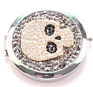 Black skull Pocket Makeup Mirror Cosmetic Hand Portable Miroir Espelho Espejo De Maquiagem Bolso Maquillaje Bling