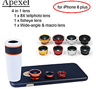 Apexel 4 in 1 Lens Kit 8X White Telescope Lens+Fisheye Lens+Wide-angle+Macro Camera Lens with Case for iPhone 6 Plus