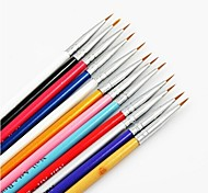 12PCS 12Colours Synthetic Hair Nail Art Brushes