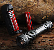 CREE XM-L T6 2000 Lumens 5 Mode LED Zoom Flashlight T6 Light (3*AAA / 1*18650)+ 2 * Batteries + charger