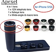 Apexel 4 in 1 Lens Kit 12X Black Telephoto Lens+Fisheye Lens+Wide-angle+Macro Camera Lens with Case for iPhone 5 5S