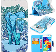 Elephant Pattern with Card Bag Full Body Case for Samsung Galaxy S5 I9600