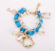 cadran rond cas chaîne en alliage montre quartz marque de mode des femmes montre (plus de couleurs disponibles)