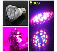5pcs morsen® e27 8w 200lm 12red y smd18 6blue bombillas led para el sistema hidropónico de plantas con flores llevado crece la luz