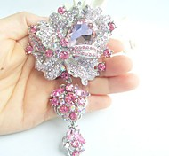 Women Accessories Silver-tone Pink Rhinestone Crystal Dangling Flower Brooch Art Deco Brooch Bouquet Women Jewelry