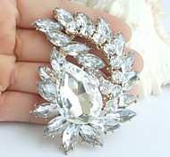 Bridal Accessories Wedding Deco Gold-tone Clear Rhinestone Crystal Bridal Brooch Bridal Bouquet Wedding Brooch