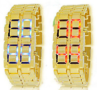 Unisex Watch LED Lights Display Gold Molten Metal Styles (Assorted Colors)