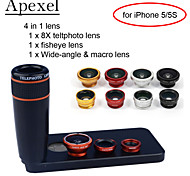 Apexel  4 in 1 Lens Kit 8X Black Telescope Lens+Fisheye Lens+Wide-angle+Macro Camera Lens with Case for iPhone 5 5S