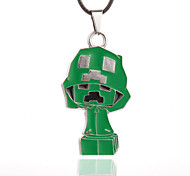 Vilam® MineCraft Cubic Green Mushroom Zinc Alloy with Dripping Oil Pendant Necklace