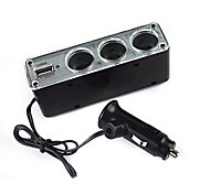 A Drag Three Car Cigarette Lighter Power Distributor with USB 12V For a Variety Of Car
