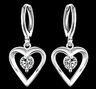 Silver Plated Earring Rhinestone Heart Shape  Drop Earrings Wedding/Party/Daily/Casual 2pcs