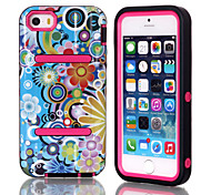 H Models IMD Colorful Flowers Pattern TPU and PC Material Triple Phone Shell for iPhone 5C(Assorted Colors)