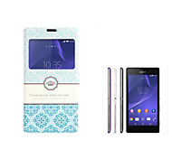 For Sony Case with Stand / with Windows / Flip Case Full Body Case Other Hard PU Leather Sony Xperia T3