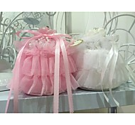 Multilayer Organza Cake Shape Ring Pillow with Rose Flower and Ribbon Jewelry Ring Box
