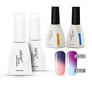 azur 4 pièces / uv changer beaucoup la couleur Soak-Off conduit gel manucure ongles vernis (# 03 + # 13 + base + haut)