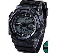 Men's Silicone Strap Digital Sport Watches Chronograph/Calendar/Backlight/Waterproof Black