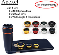 """Apexel 4 in 1 8X Black Telescope Lens+Fisheye Lens+Wide-angle+Macro Camera Lens  with Case for  iPhone 6 plus 5.5"""""""
