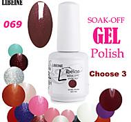 LIBEINE 3 pcs/lot 15 ML UV Color Gel Nail Polish No.069(Glitter Black-red)