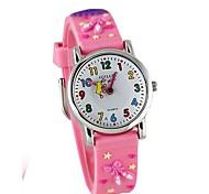 Children's Cartoon 3D Pattern Digital Display Pink Silicone Band Quartz Imported machine Analog Wrist Watch