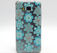 Blue Flowers Pattern TPU Relief Diamond Back Cover Case for Samsung Galaxy Prime G530