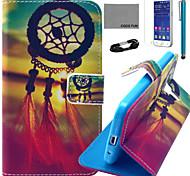 Coco fun® teste padrão de nó chinês estojo de couro pu com filme e cabo USB e caneta para samsung galaxy núcleo principal G360