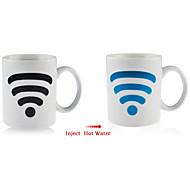 calor magia sinal wifi sensível padrão de cor mudando caneca de café cerâmica copo de chá