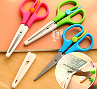 Colorful Smart Paper Edger Scissors Student Craft Cutter with Protector and Ruler (Random Color)