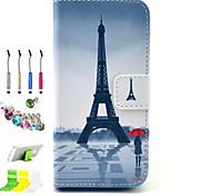 torre padrão pu com tudo incluído caso slot e caneta conjunto de obturador poeira suporte para iPhone 5 / 5s